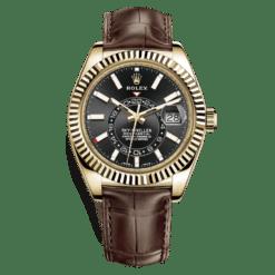 Rolex Sky-Dweller 326138BL Black Dial Automatic 18kt Yellow Gold Watch