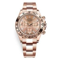 Rolex Cosmograph Daytona 116505 Pink Baguette Index Everose Gold Mens Watch