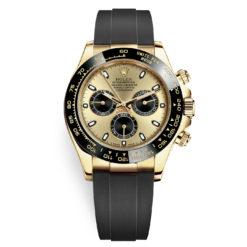Rolex Cosmograph Daytona 116518LN Champagne Black Oysterflex Yellow Gold Mens Watch