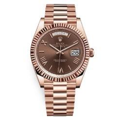 Rolex Day-Date 228235 Chocolate Roman 40mm Everose Gold Mens Watch