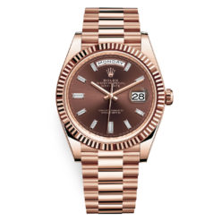 Rolex Day-Date 228235 Chocolate Baguette Index 40mm Everose Gold Mens Watch