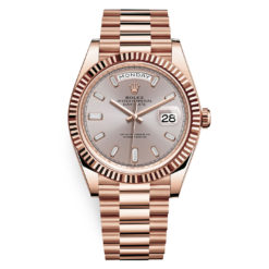Rolex Day-Date 228235 Sundust Baguette Index 40mm Everose Gold Mens Watch