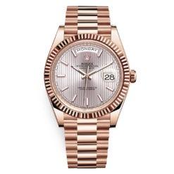 Rolex Day-Date 228235 Sundust Stripe 40mm Everose Gold Mens Watch