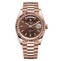 Rolex Day-Date 228235 Chocolate Diagonal Index 40mm Everose Gold Mens Watch