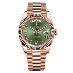 Rolex Day-Date 228235 Green Roman 40mm Everose Gold Mens Watch