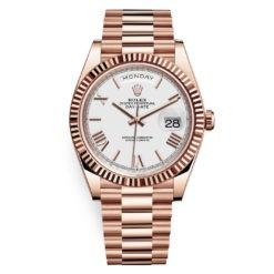 Rolex Day-Date 228235 White Roman 40mm Everose Gold Mens Watch