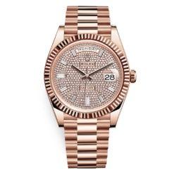 Rolex Day-Date 228235 Diamond-paved 40mm Everose Gold Mens Watch