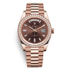 Rolex Day-Date 228345rbr Chocolate Baguette Index 40mm Everose Gold Mens Watch