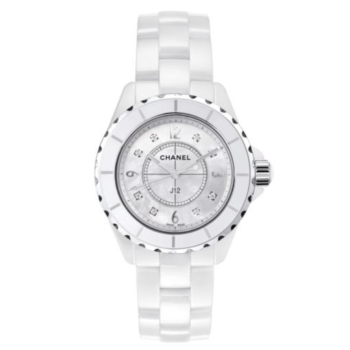 CHANELJ12 White Ceramic Diamonds Quartz Ladies Watch H2422