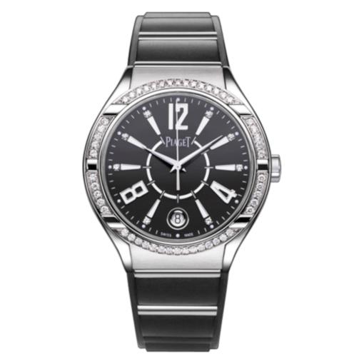 Piaget Polo Black Dial 18K White Gold Diamond Ladies Watch GOA36014