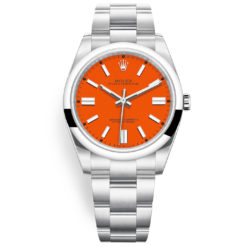 Rolex Oyster Perpetual 124300 Coral Red Index Dial Oyster Bracelet Watch