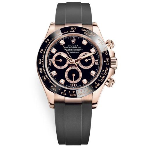 Rolex Cosmograph Daytona 116515ln Diamond Dial Oysterflex Everose Gold Watch